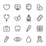 Flat Line Icons For Medical Icons and Health Icons Vector Illustration Royalty Free Stock Photos