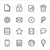 Flat Line Icons Mobile Icons and Internet Web Icons Vector Illustration Stock Photos