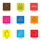 Flat line icons for mobile or smartphone - concept vector. Royalty Free Stock Photos