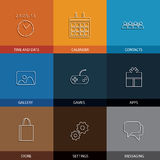 Flat line icons for mobile or smartphone - concept vector Stock Photos