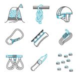 Flat line icons for mountaineering equipment Royalty Free Stock Images