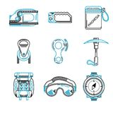 Flat line icons for mountaineering equipment Royalty Free Illustration