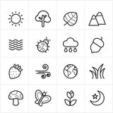 Flat Line Icons Nature and Tree Icons Vector Illustration Royalty Free Stock Photo