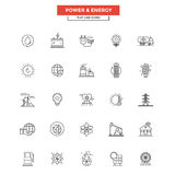 Flat Line  Icons- Power and Energy. Set of Modern Flat Line icon Concept of Power and Energy use in Web Project and Applications. Simple mono linear pictogram Stock Photography