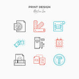 Flat line icons of Print design process, from color selection an Royalty Free Stock Image