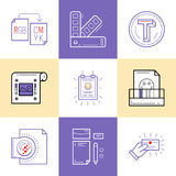 Flat line icons of Print design process, from color selection an Royalty Free Stock Photos