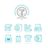 Flat line icons of Print design process, from color selection an Stock Image