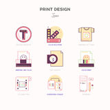 Flat line icons of Print design process. Print corporate identit Royalty Free Stock Image