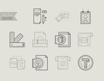 Flat line icons of Print design process, print corporate identit Stock Photo