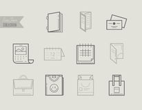 Flat line icons of Print design products. Printing industry icon Royalty Free Stock Image