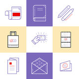 Flat line icons of Print design products. Printing industry icon Stock Photos