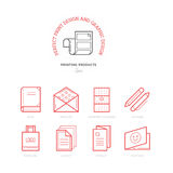 Flat line icons of Print design products. Printing industry icon Royalty Free Stock Photo