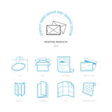 Flat line icons of Print design products. Printing industry icon Royalty Free Stock Photos