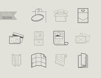 Flat line icons of Print design products. Printing industry icon Royalty Free Stock Images