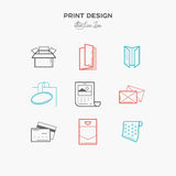 Flat line icons of Print design products. Printing industry icon Stock Photo