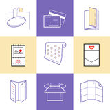 Flat line icons of Print design products. Printing industry icon Stock Photography