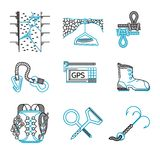 Flat line icons for rappeling equipment Stock Images