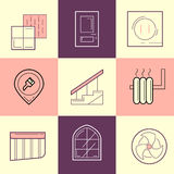 Flat Line Icons of Repair and Construction. Construction Industr Royalty Free Stock Images