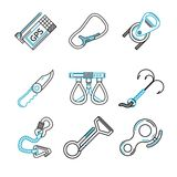 Flat line icons for rock climbing equipment Stock Image