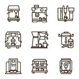 Flat line icons for selling coffee machines Royalty Free Stock Photo