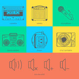 Flat line icons set of audio technic 90's like Royalty Free Stock Photo