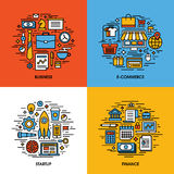 Flat line icons set of business, e-commerce, startup, finance