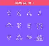 Flat line icons set of business meeting Stock Image