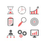 Flat line icons set of business planning process. Company accounting organization, big data analytics, corporate taxes optimization. Modern trend design vector Stock Photography