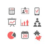Flat line icons set of business planning process. Company accounting organization, big data analytics, corporate taxes optimization. Modern trend design vector Royalty Free Stock Photography