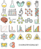 Flat line icons set of chemistry symbols and Stock Photos
