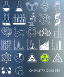 Flat line icons set of chemistry symbols and Royalty Free Stock Images