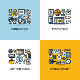 Flat line icons set of consulting, promotion, pay per click. Development. Creative design elements for websites, mobile apps and printed materials Stock Photos