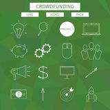 Flat line icons set of crowd funding service. Investing platform for creative project, development of small business, startup model and community ideas. Modern Royalty Free Stock Photography