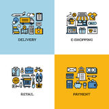 Flat line icons set of delivery, e-shopping, retail, payment Royalty Free Stock Photo