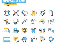 Flat line icons set of dental care theme Royalty Free Stock Photo