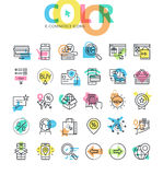 Flat line icons set of e-commerce, online sale Royalty Free Stock Photography