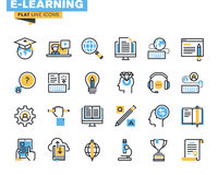 Flat line icons set of e-learning Stock Photo