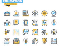 Flat line icons set of education process Stock Photos