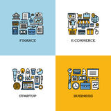 Flat line icons set of finance, e-commerce, startup, business Royalty Free Stock Photo