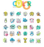 Flat line icons set of graphic design and product development process Stock Photography