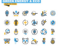 Flat line icons set of green technology Stock Photo