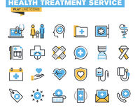 Flat line icons set of health treatment service Royalty Free Stock Images
