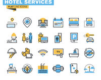 Flat line icons set of hotel service facilities. Flat line icons set of major hotel service facilities, resort accommodation, motel facility and hostel amenities royalty free illustration