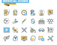 Flat line icons set of medical supplies. Healthcare diagnosis and treatment, laboratory tests, medicines and equipment. Vector concept for graphic and web Royalty Free Stock Image