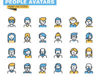 Flat line icons set of people stylish avatars. For profile page, social network, social media, different age man and woman characters, professional human vector illustration