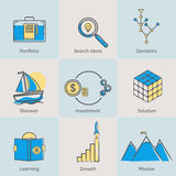 Flat line icons set of portfolio, search ideas Royalty Free Stock Photo