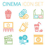 Flat line icons set of professional film. Production, movie shooting, studio showreel, actors casting, storyboard writing and post production. Flat design style Royalty Free Stock Photos