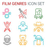 Flat line icons set of professional film production, movie shooting, studio showreel, actors casting, storyboard writing and post Stock Images