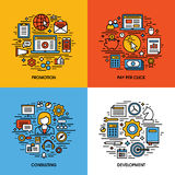 Flat line icons set of promotion, pay per click, consulting, dev Stock Images