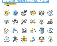 Flat line icons set of recycling theme. Waste management , green energy and technology, biodegradable materials, environment. Vector concept for graphic and royalty free illustration